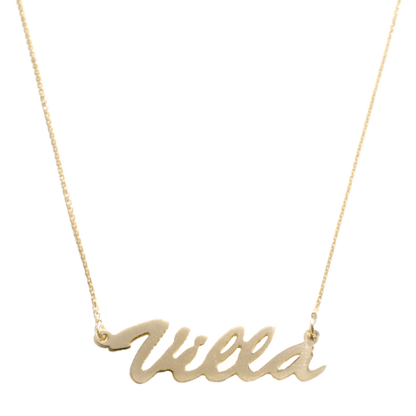 """Villa-Style"" Gold Nameplate Necklace"