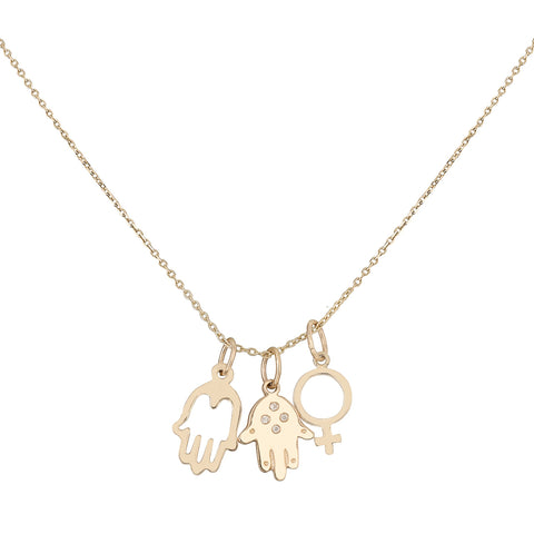 Diamond Hand of Fatima/Hollow Hand/Woman Symbol Necklace - Bianca Pratt Jewelry