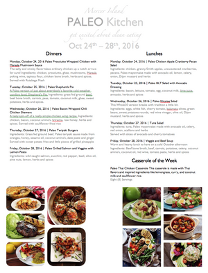 Meal Service for October 24th - 29th, 2016
