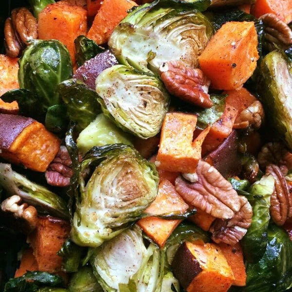Roasted Brussel Sprouts, Yam and Pecans