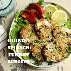 1/16 WEDNESDAY DINNER  QUINOA SPINACH TURKEY BURGERS - The Custom Plate formerly Mercer Island Paleo Kitchen