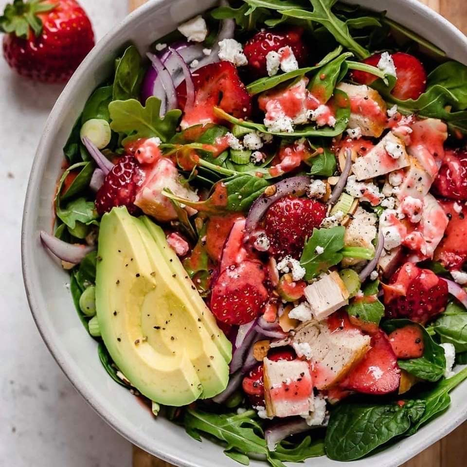 Lunch August 13 Thursday  Strawberry Spinach Salad with Chicken and Strawberry Vinaigrette