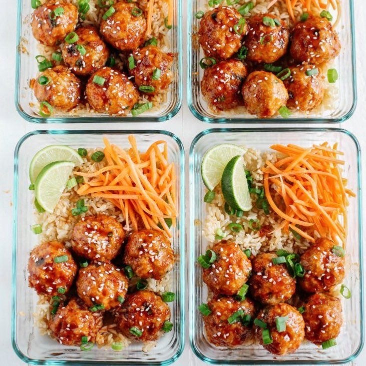 Lunch Friday, April 3  Sticky Orange Turkey Meatballs with Carrot Salad and Brown Rice - The Custom Plate formerly Mercer Island Paleo Kitchen