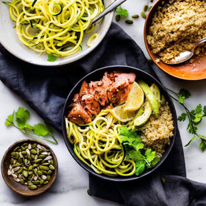 Dinner Monday February 24  Honey BBQ Baked Salmon with Garlic Zoodles and Lemon Quinoa