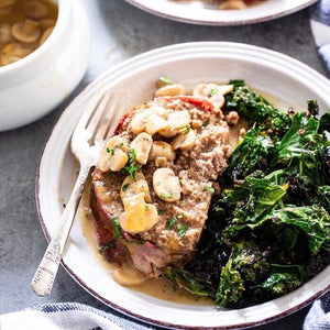 Monday Dinner - 7/29 Bacon Wrapped Meat Loaf with Mushroom Gravy and Sautéed Kale - The Custom Plate formerly Mercer Island Paleo Kitchen