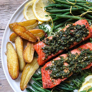 Dinner Sunday December 15  Pesto Roasted Salmon with Green Beans and Fingering Potatoes