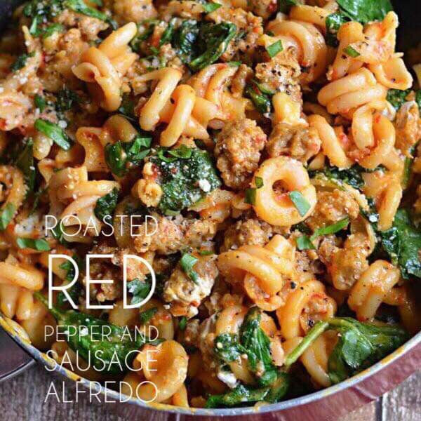 2/12 TUESDAY DINNER  ROASTED RED PEPPER AND SAUSAGE ALFREDO - The Custom Plate formerly Mercer Island Paleo Kitchen