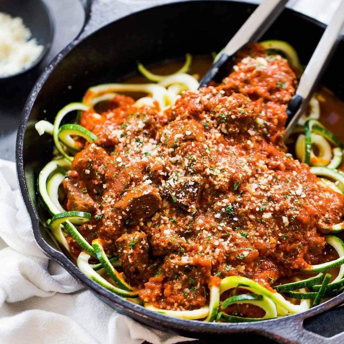 Dinner Friday, January 22 Vodka Sauce Beef With Zucchini Noodles
