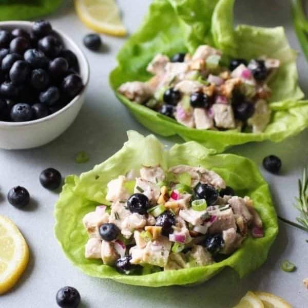 Lunch August 12 Wednesday  Blueberry Chicken Salad with Rosemary and Lettuce Cups