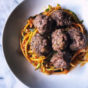 Dinner Saturday, February 1  Zoodles with Turkey Meatballs - The Custom Plate formerly Mercer Island Paleo Kitchen