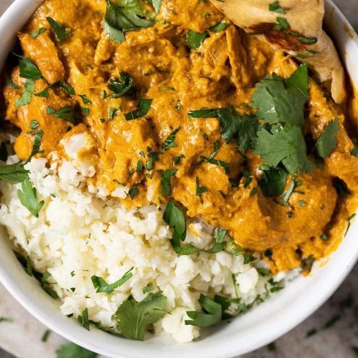 Dinner for Monday, November 30 Creamy Butter Chicken with Cauliflower Rice