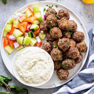 Tuesday Dinner - 7/30 Greek Meatballs with Tzatziki Sauce and Cucumber Tomato Salad - The Custom Plate formerly Mercer Island Paleo Kitchen