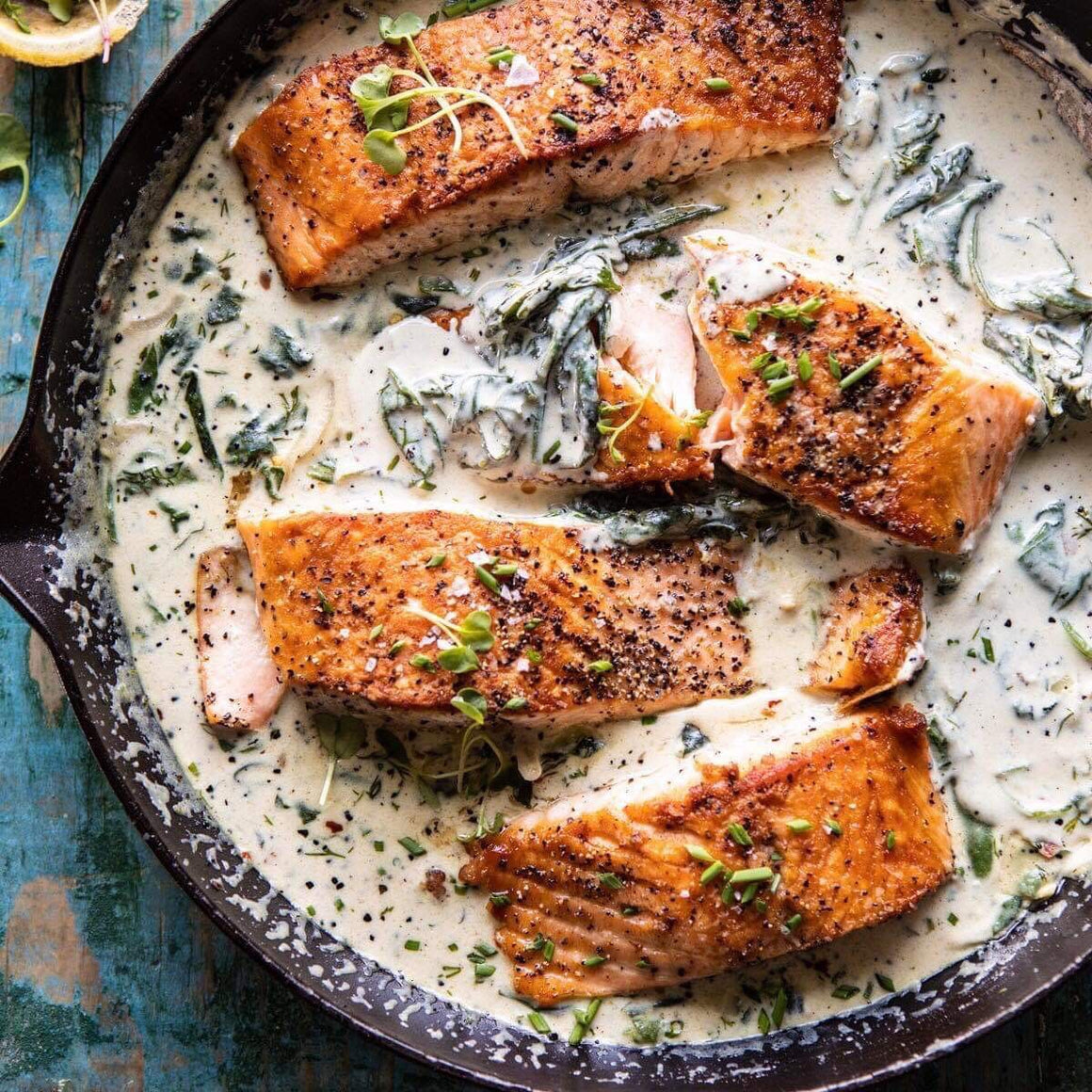 Dinner Tuesday, April 30 Garlic Butter Creamed Spinach Salmon(GF,Paleo)