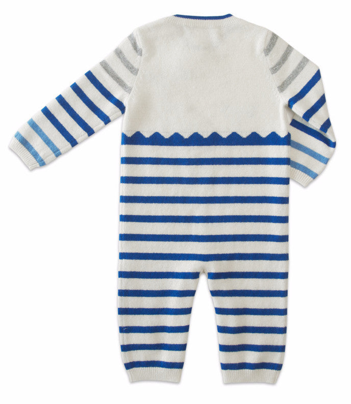 Infant Boy's Striped Coverall 100% Cashmere Blue | www