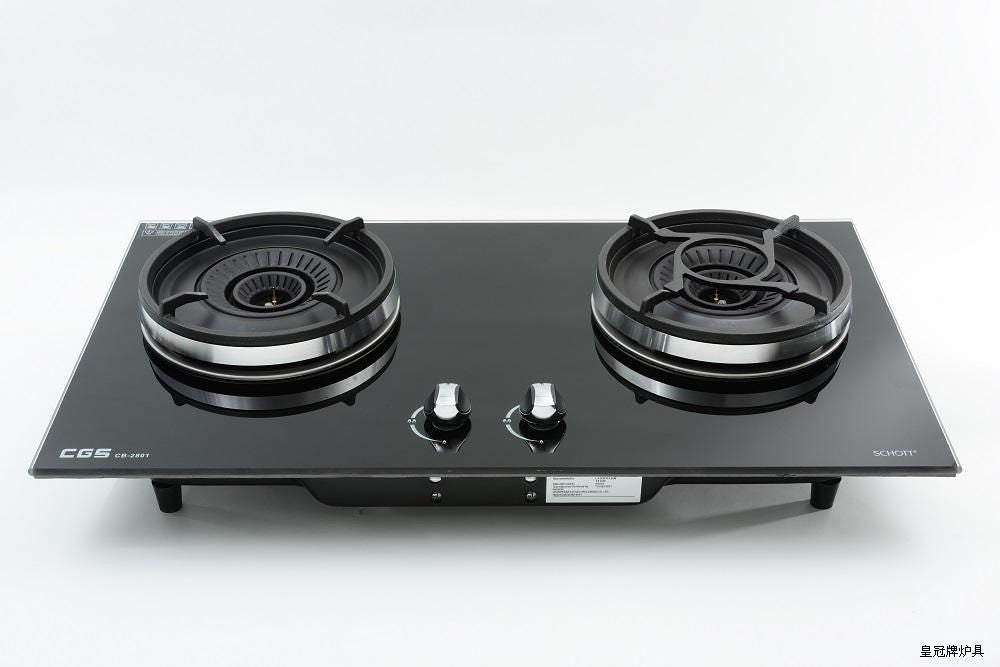Crown LPG Double-burners Tempered Glass Built-in Hob