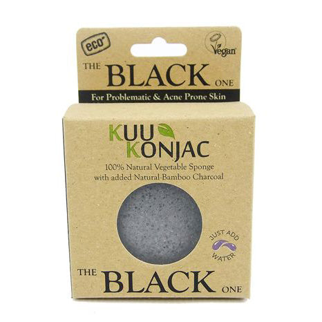 KUU Konjac Sponge with Bamboo Charcoal(Black) – Dry, Acne prone and Problematic Skin