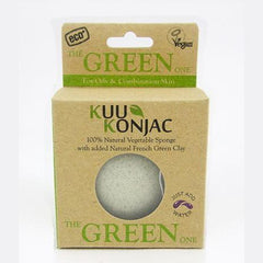 KUU Konjac Sponge with French Green Clay (Green) – For Oily and Combination Skin Types
