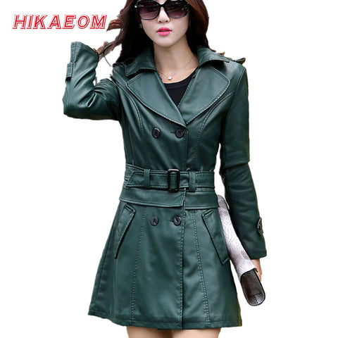 e82808707cd 2 Uses For Short And Long Green Leather Coats Women Faux Leather Jacket  Turn-Down