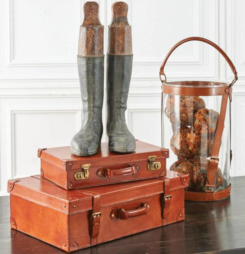 Distressed Resin Tall Riding Boots