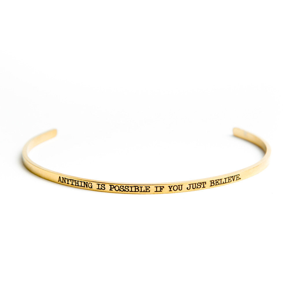 """Anything is Possible if You Just Believe"" Bangle Gold"