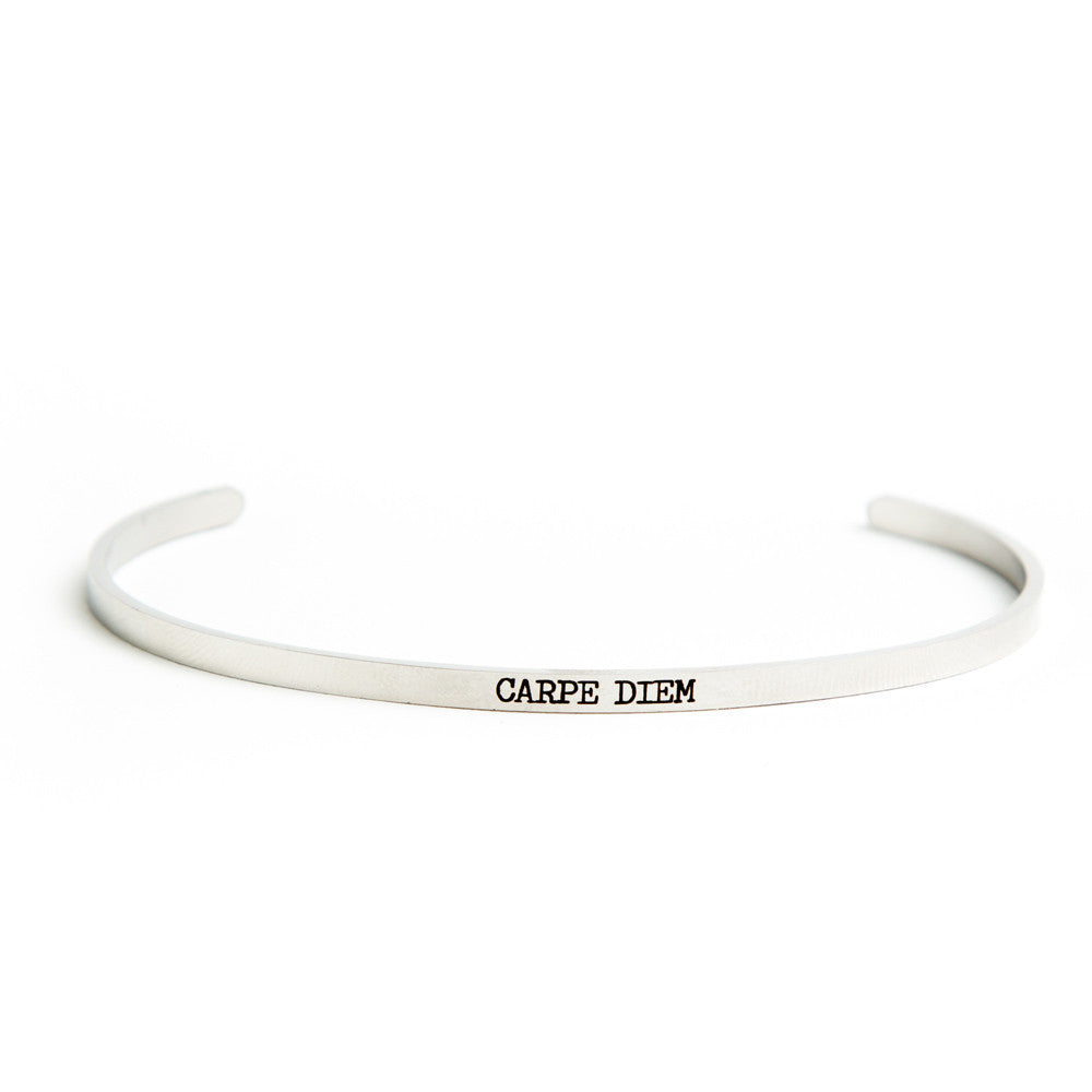 """Carpe Diem"" Delicate Bangle Silver"