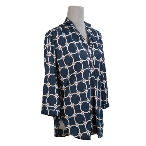 Circle Link Tab Sleeve Blouse - Navy/White
