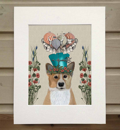 Corgi Milliners Dog Book Print