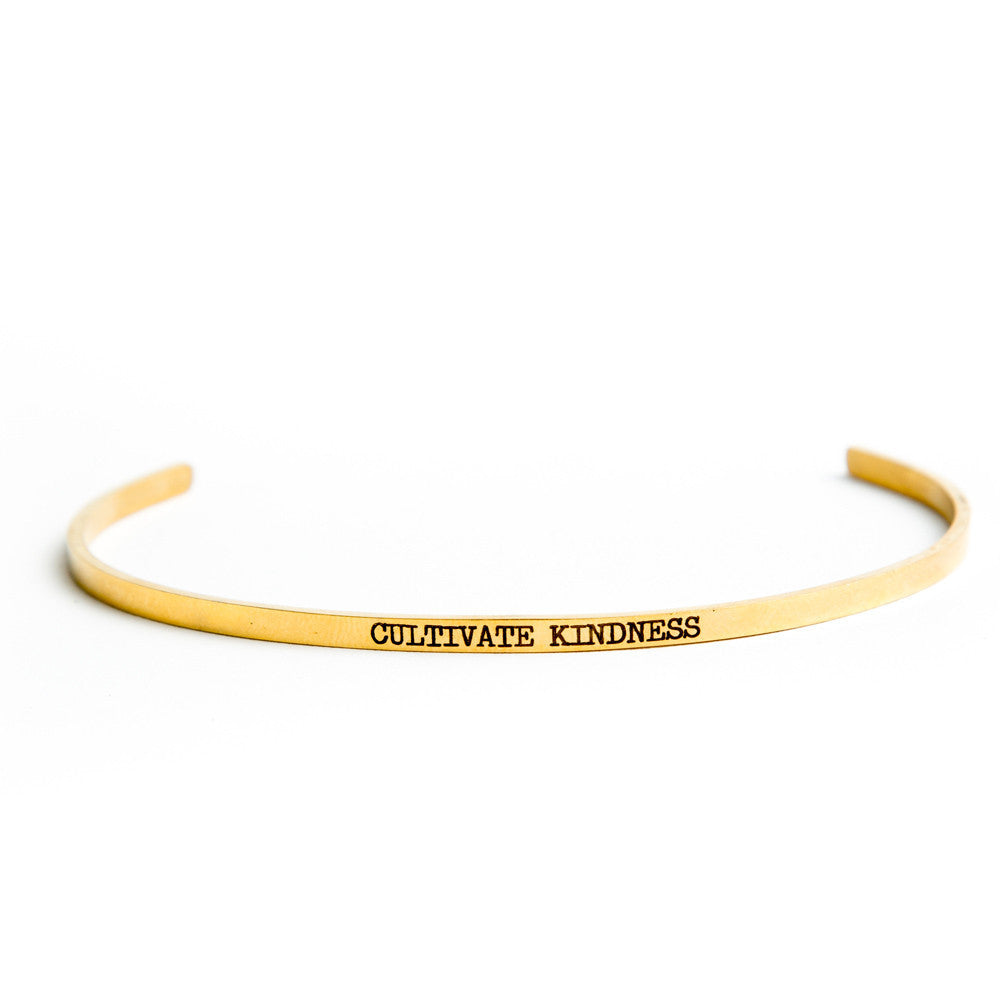 """Cultivate Kindness"" Delicate Bangle Gold"