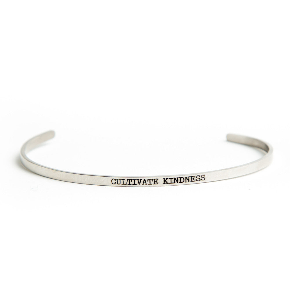 """Cultivate Kindness"" Delicate Bangle Silver"