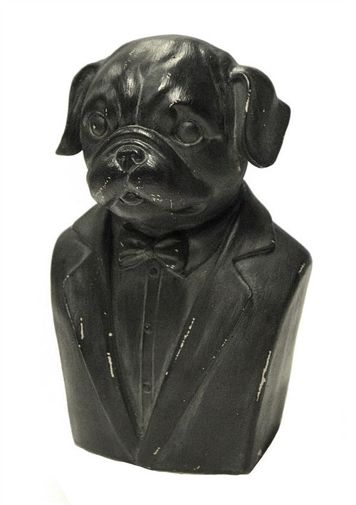 Black Dog Gentleman Bust Figurine