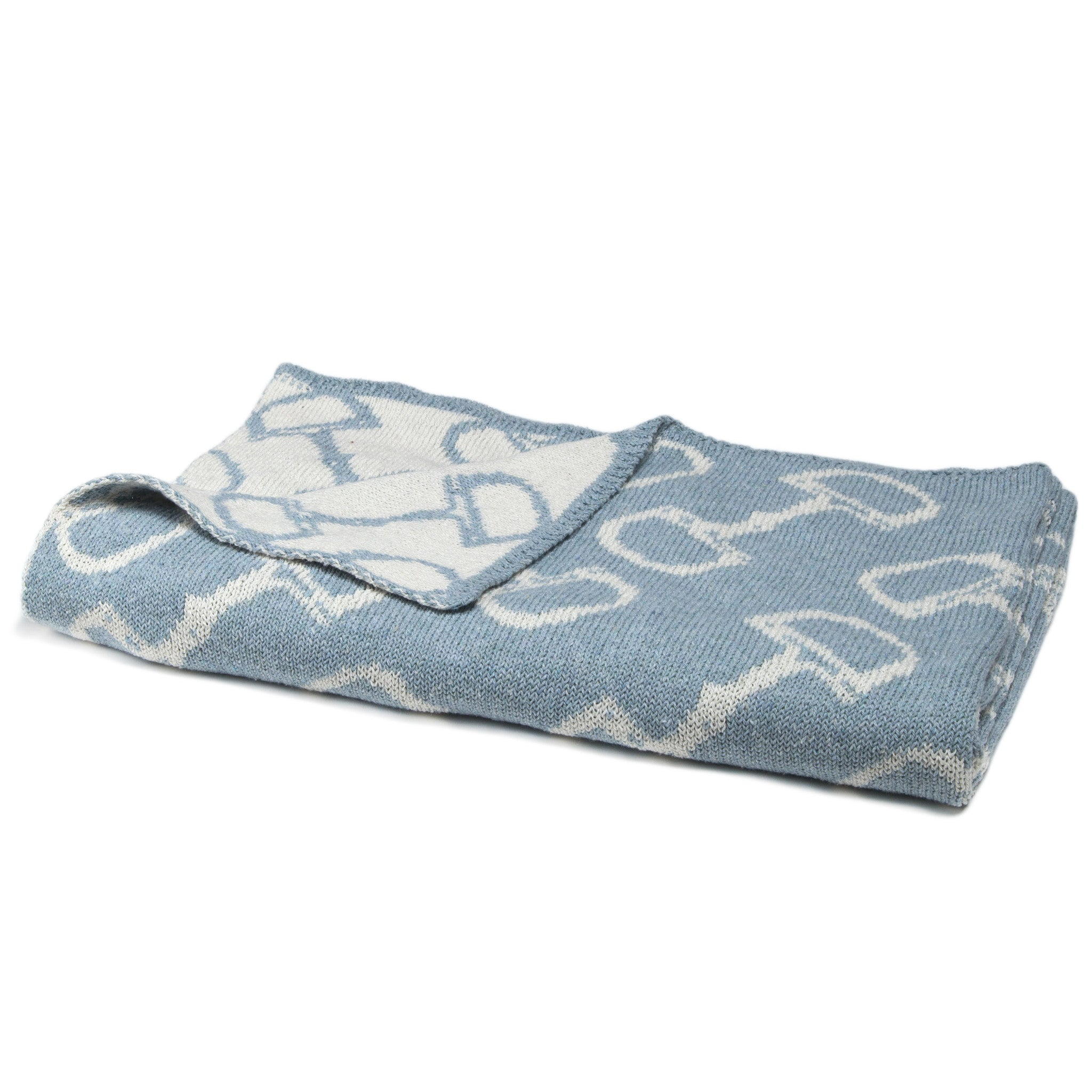 Eco Baby Reversible Bits Throw Blue Pond