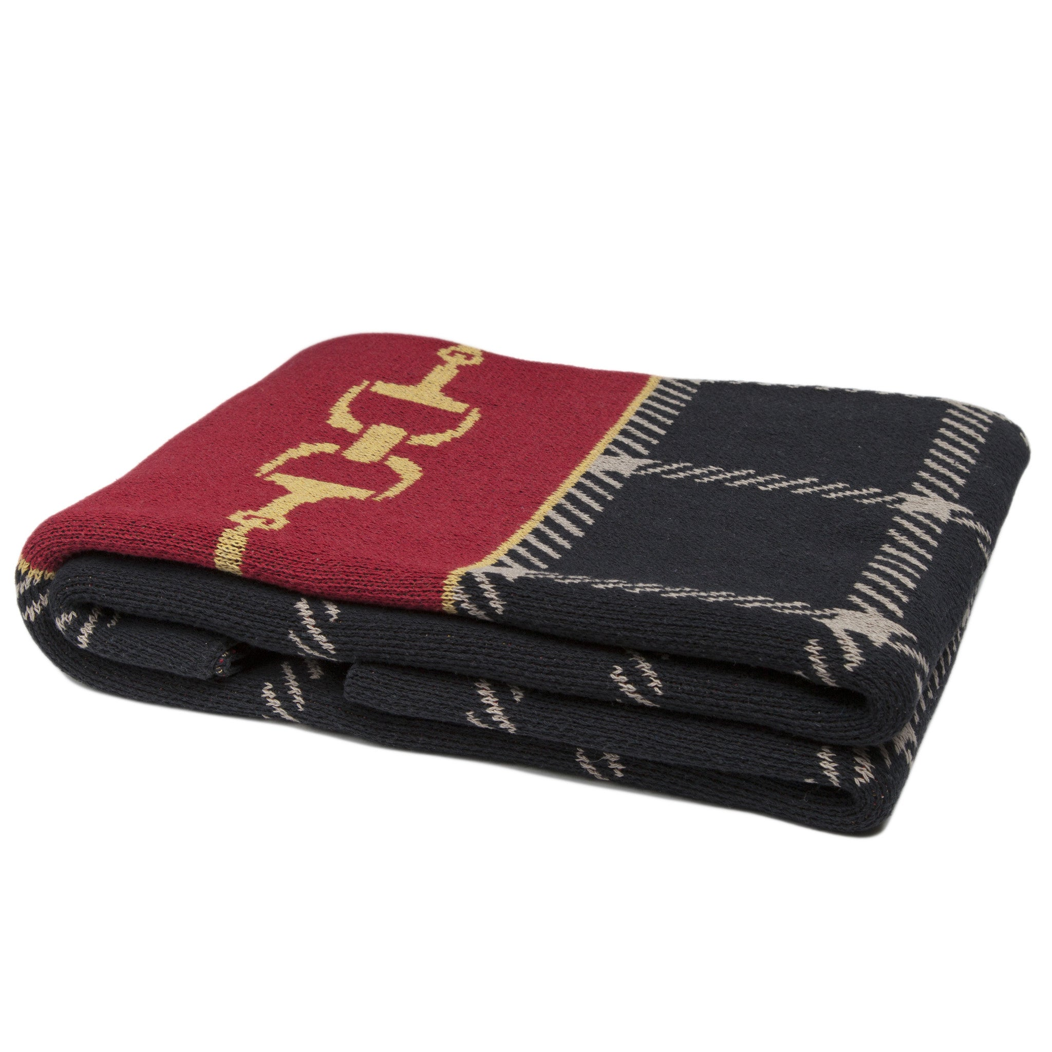 Eco Horse Bit Plaid Throw Black/Pomegranate/Straw