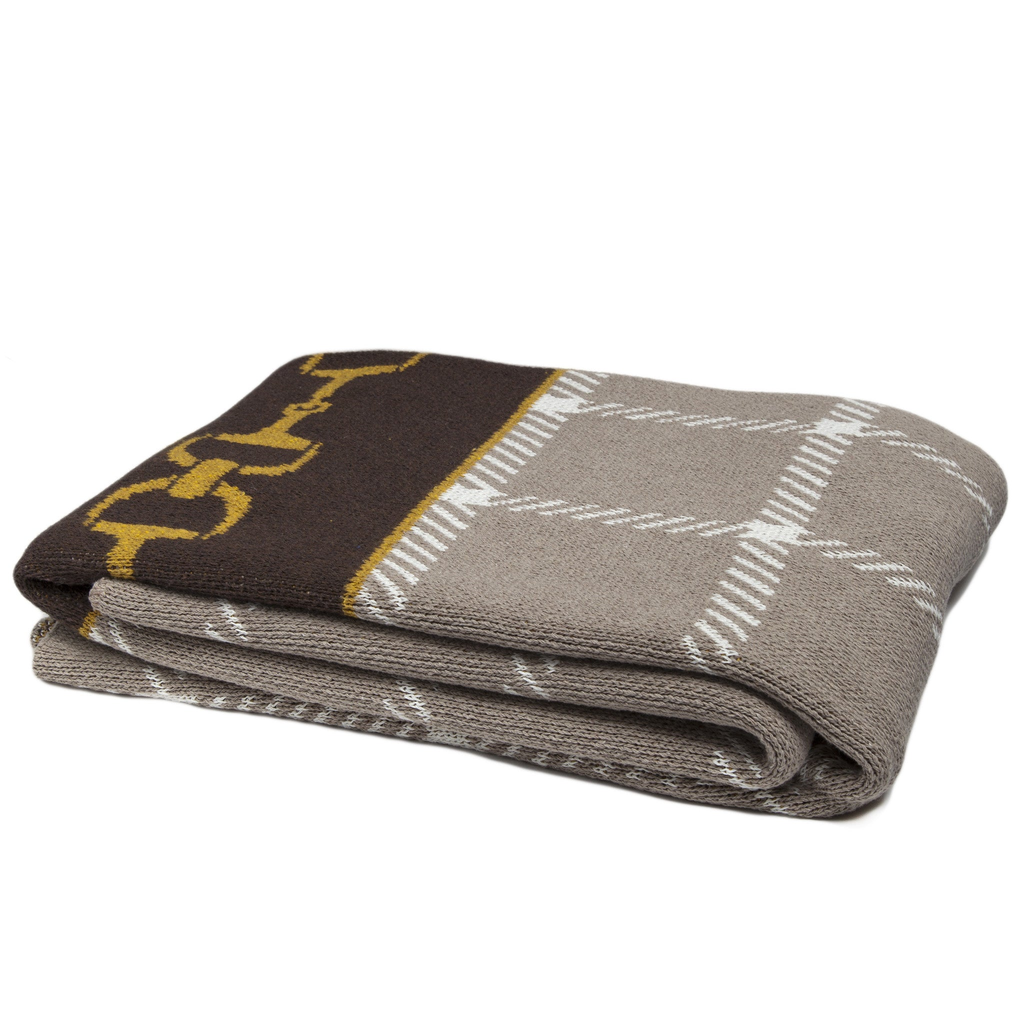 Eco Horse Bit Plaid Throw Chocolate/Moss/Flax