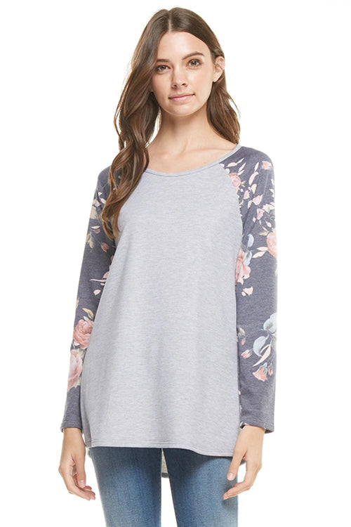 French Terry Floral Print Long Sleeve Top
