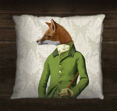 Fox in Green Jacket Pillow Cover
