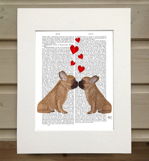 French Kiss and Hearts Book Print