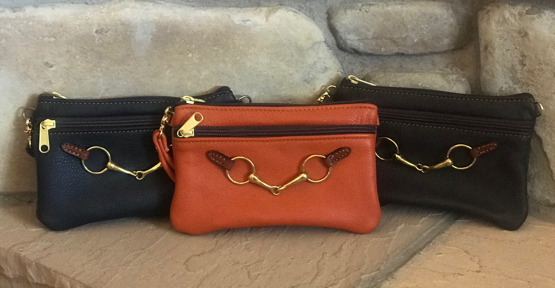 Leather & Brass Bit Wristlet