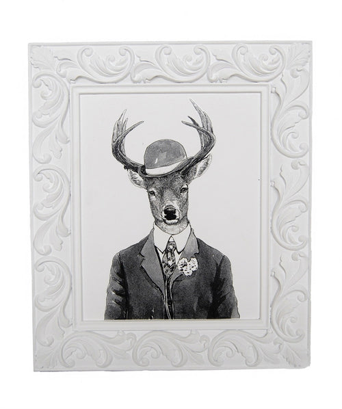 Black & White Gentleman Deer Framed Art