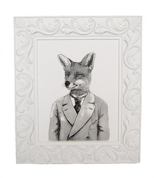 "Black & White ""Gentleman Fox"" Framed Art"