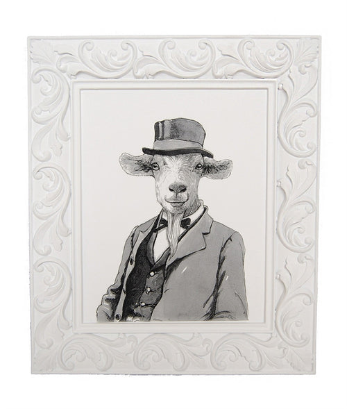 "Black & White ""Gentleman Goat"" Framed Art"