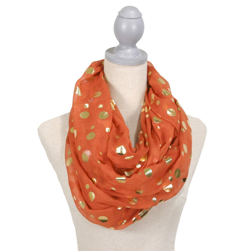 Glamour Polka Dot Loop Scarf  Orange/Gold
