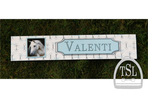 Custom Stall Sign- White with Blue & Grey Bit Design & Photo