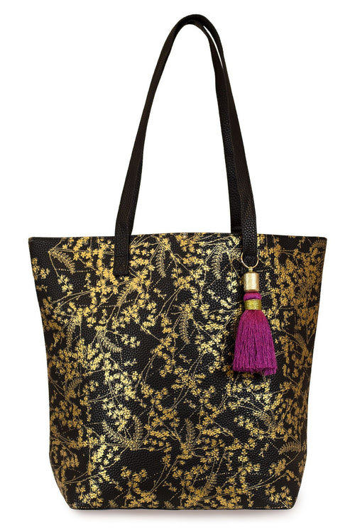 Gold Floral Bucket Tote