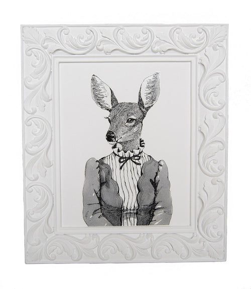 "Black& White ""Lady Deer"" Framed Art"