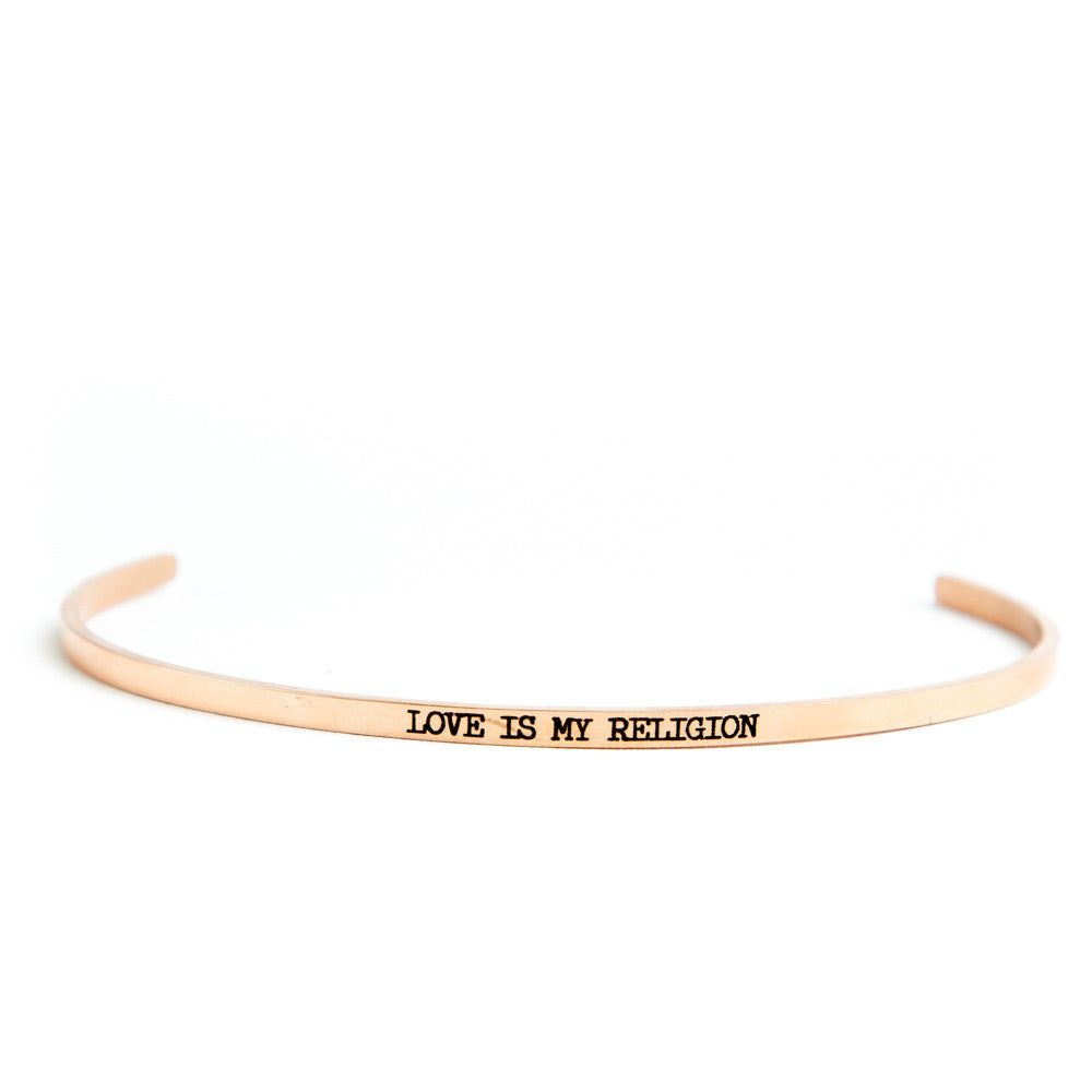 """Love Is My Religion"" Delicate Bangle Rose Gold"