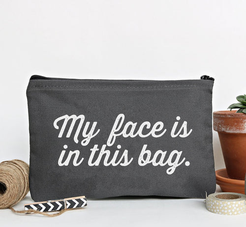 """My Face"" Gray Zip Pouch"
