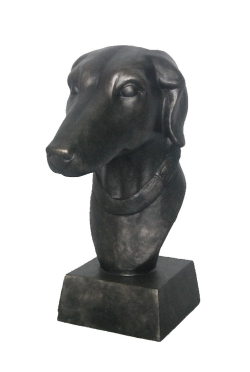 Black Resin Dog Bust Figurine
