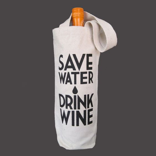"""Save Water"" Canvas Wine Bag"