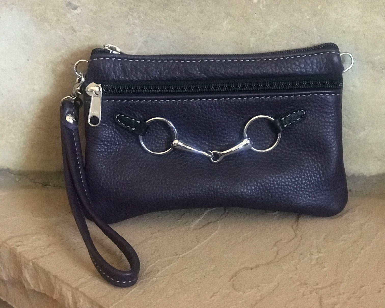 Leather Wristlet with Chrome Bit