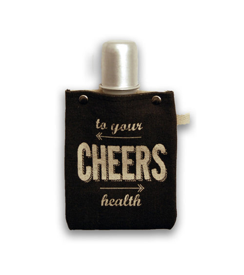 """Cheers"" Canvas Flask"